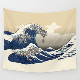 The great wave of english bulldog Vanilla Sky Wall Tapestry