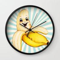 banana Wall Clocks featuring Banana by Kelly Gilleran