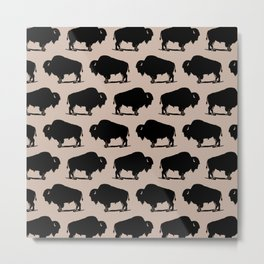 Buffalo Bison Pattern 265 Beige and Black Metal Print