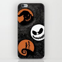 nightmare before christmas iPhone & iPod Skins featuring Nightmare Before Christmas by Linda V.