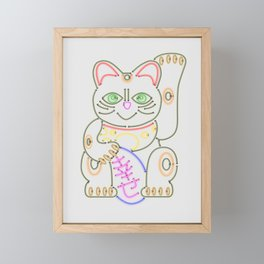 Maneki-Neko Neon – Good Luck Framed Mini Art Print