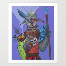 Digital Acid Orc Shaman Art Print