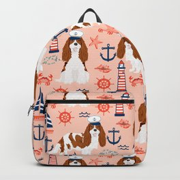 Cavalier King Charles Spaniel nautical sailing lighthouse new england sailboats dog breed Backpack