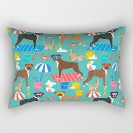 Boxer dog breed beach summer fun dogs boxers pet portrait pattern Rectangular Pillow