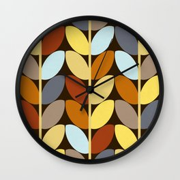 Retro 70s Color Palette Leaf Pattern Wall Clock
