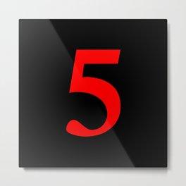 5 (RED & BLACK NUMBERS) Metal Print