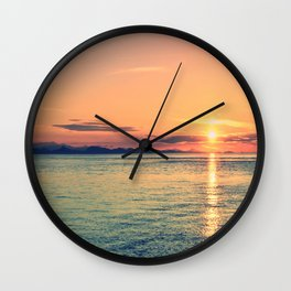 Pastel Sunset Calm Blue Water Wall Clock