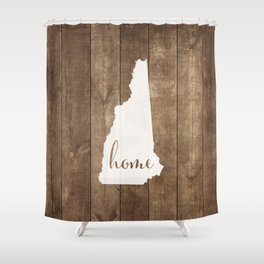 New Hampshire is Home - White on Wood Shower Curtain