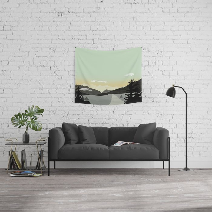Misty Mountain II Wall Tapestry