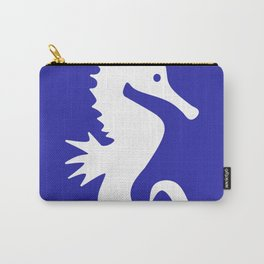 Seahorse (White & Navy Blue) Carry-All Pouch