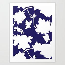 Chinoiserie Silhouette Navy Art Print