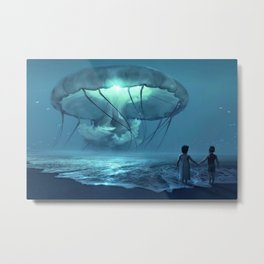 Portrait of Siblings on the beach with giant jellyfish magical realism portrait Metal Print