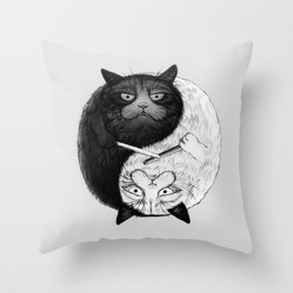 Grumpy Yin Yang Throw Pillow