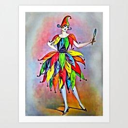ART DECO LADY IN HARLEQUIN Art Print