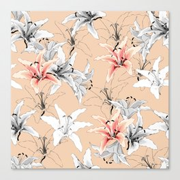 Pink and white lilies pattern Canvas Print