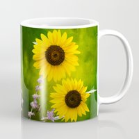 sunflowers Mugs featuring Sunflowers.  by LudaNayvelt