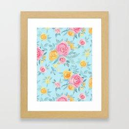 Chalk Pastel Pink & Orange Roses on Sky Blue Framed Art Print