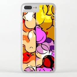 psychedelic geometric graffiti drawing and painting in orange pink red yellow blue brown purple and Clear iPhone Case