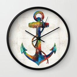 Nautical Anchor Art - Anchors Aweigh - By Sharon Cummings Wall Clock