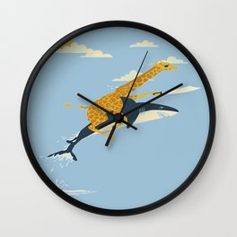 Giraffe riding shark Wall Clock