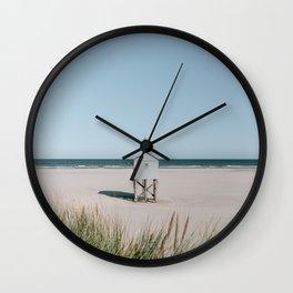 White tiny beach house || Travel Photography || Pastel landscape colours sea island minimalistic Wall Clock