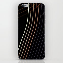 Abstract colorful lines on black background iPhone Skin