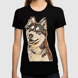 Portrait of a pretty husky dog looking away with mouth open isolated on a white background in a vert T-shirt