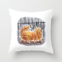 pomeranian Throw Pillows featuring Pomeranian  by Renee Kurilla