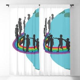 Children on rainbow around the earth Blackout Curtain