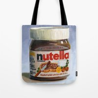nutella Tote Bags featuring Nutella Oil Painting by The GRYLLUS
