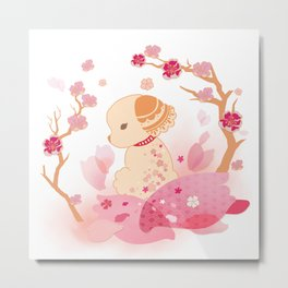 Sweet minimalist dog sakura Metal Print