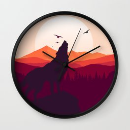 Bark At The Moon Wall Clock