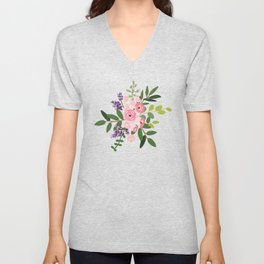 Pink roses bouquets with greenery on the striped background Unisex V-Neck