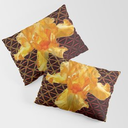 COFFEE BROWN ART PATTERN GOLDEN BEARDED IRIS Pillow Sham
