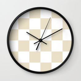 Large Checkered - White and Pearl Brown Wall Clock