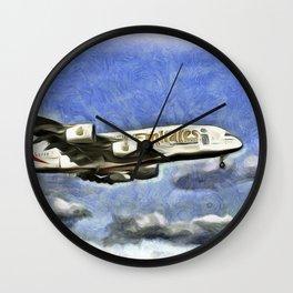 Emirates A380 Airbus Van Gogh Wall Clock