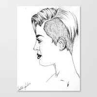 miley cyrus Canvas Prints featuring Miley Cyrus by Kfort
