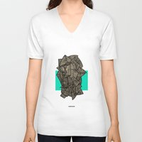 disco V-neck T-shirts featuring - sleeping disco - by Magdalla Del Fresto