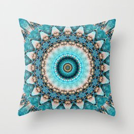 Mandala Precious stone turquoise Throw Pillow