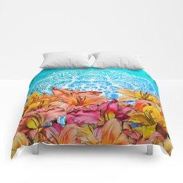 Orange Lilies & White Mandala on Blue Comforters