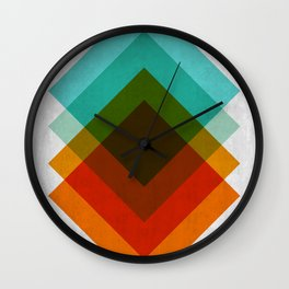 Blue and red gradient squares Wall Clock