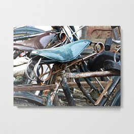 Rusty Indian Bicycles Detail Metal Print