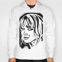jennifer lawrence Hoodies featuring Jennifer Lawrence Stencil Portrait by Lucky art