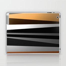 Metallic II - Abstract, geometric, metallic effect stripes, gold, silver, black Laptop & iPad Skin