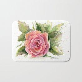 Red Rose Watercolor Pink Rose Flower Floral Art Bath Mat