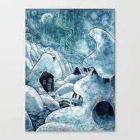 moomin Canvas Prints featuring Winter in The Moomin Valley by stelari
