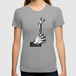 Vintage Illustration, Cross in Hands T-shirt