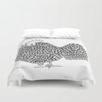 zentangle Duvet Covers featuring Zentangle  Illustration - Funky Chicken by Vermont Greetings