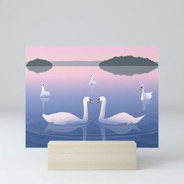 Swimming Swans on the Lake Mini Art Print