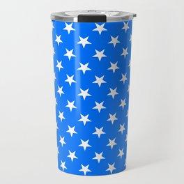 White on Brandeis Blue Stars Travel Mug
